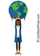 Woman holding globe.