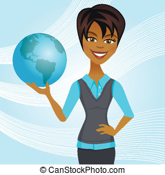 Woman Holding Globe - A woman in casual business attire...