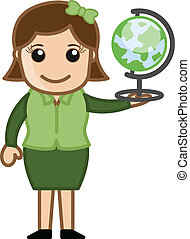 Woman Holding Globe Vector - Drawing Art of Young Cartoon...
