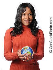 Woman Holding Glowing Earth