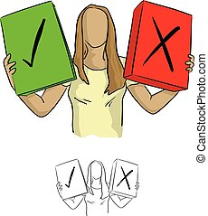 woman holding green check box and the red cross one vector illustration sketch doodle hand drawn with black lines isolated on white background