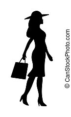 Woman holding handbag. People walking silhouette. Side view. Vector black flat icon isolated on white background.