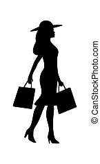 Woman holding two handbags. People walking silhouette. Side view. Vector black flat icon isolated on white background.