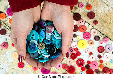 handful of colourful sewing buttons