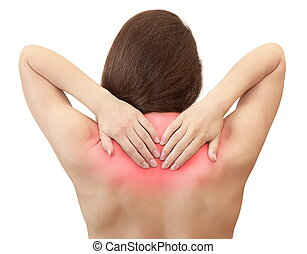 Woman holding hands her back in pain with red symbol...