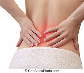 Woman holding hands on spot back in pain isolated on white...