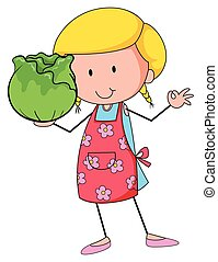 Woman holding head of cabbage
