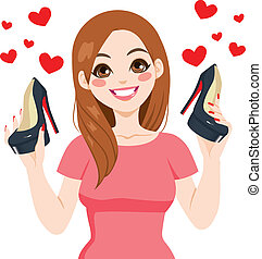 Woman Holding High Heels Shoes