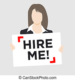Woman holding Hire Sign