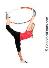 Woman holding hula hoop