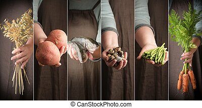 Woman holding in hand food. Farmers hands with fresh food, closeup.