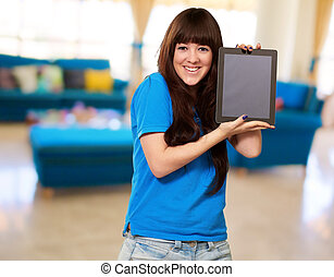 Woman Holding Ipad, Indoor