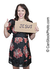 Woman Holding Jesus Sign
