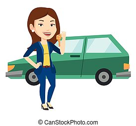 Woman holding keys to her new car. - Young caucasian woman...