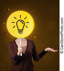 Woman holding lightbulb sign