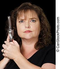 Woman holding loaded gun