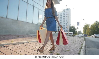 Woman holding many shopping bags - Happy woman holding many...