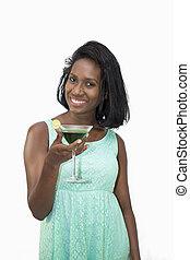 Woman holding martini