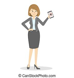 Woman holding mobile phone in hand. Silence symbol
