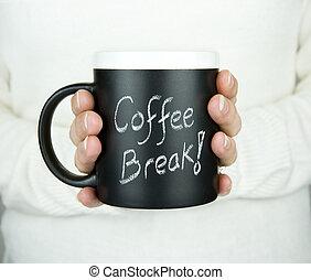coffee break - woman holding mug of coffee with coffee break...