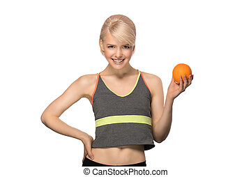 Woman holding orange