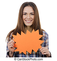 woman holding orange panel