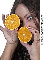Woman Holding Orange Slices