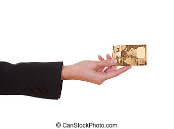 Woman holding out a credit card