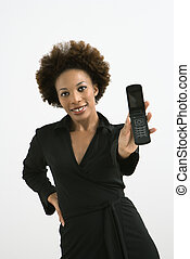 Woman holding out cellphone