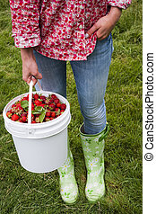 Woman holding pail of fresh strawberries