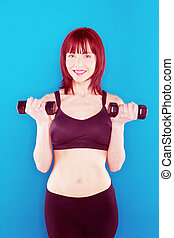 Woman Holding Pair Of Dumbbells