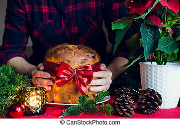 Panettone traditional Italian cake for Christmas