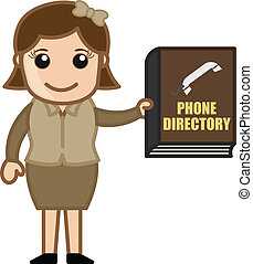Woman Holding Phone Directory Book