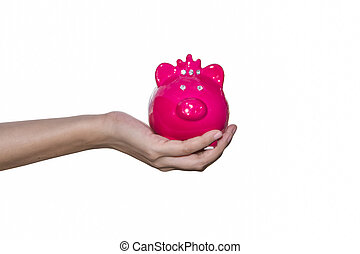 Woman holding piggy bank