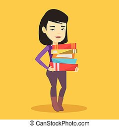 Woman holding pile of books vector illustration.