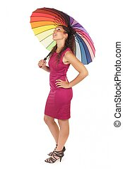 woman holding rainbow umbrella