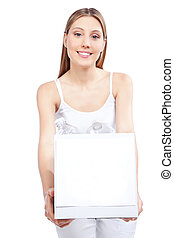 Woman Holding Recycling Waste Box