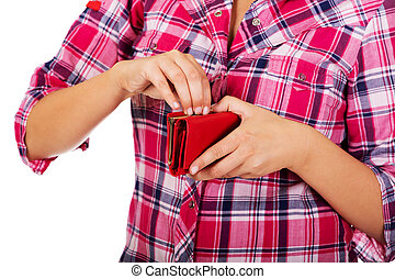 Woman holding red empty wallet