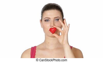 woman holding red heart . Valentine's day