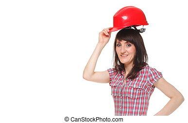 Woman holding red helmet