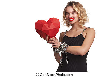 Woman holding red polygonal paper heart shape with tied by chain hands