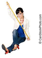 Woman holding santimetre
