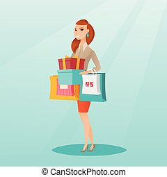 Woman holding shopping bags and gift boxes.