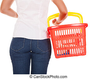 Woman holding shopping basket