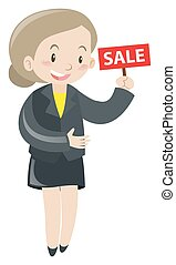 Woman holding sign for sale