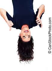 woman holding smart phone and giving thumb up upside down