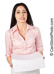 Woman Holding Stack Of Paper