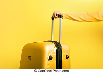 woman holding suitcase in hand