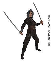 Woman Holding Swords