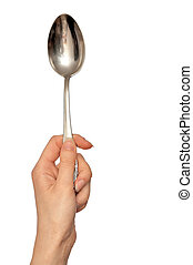 tablespoon - woman holding tablespoon in the hand for ...